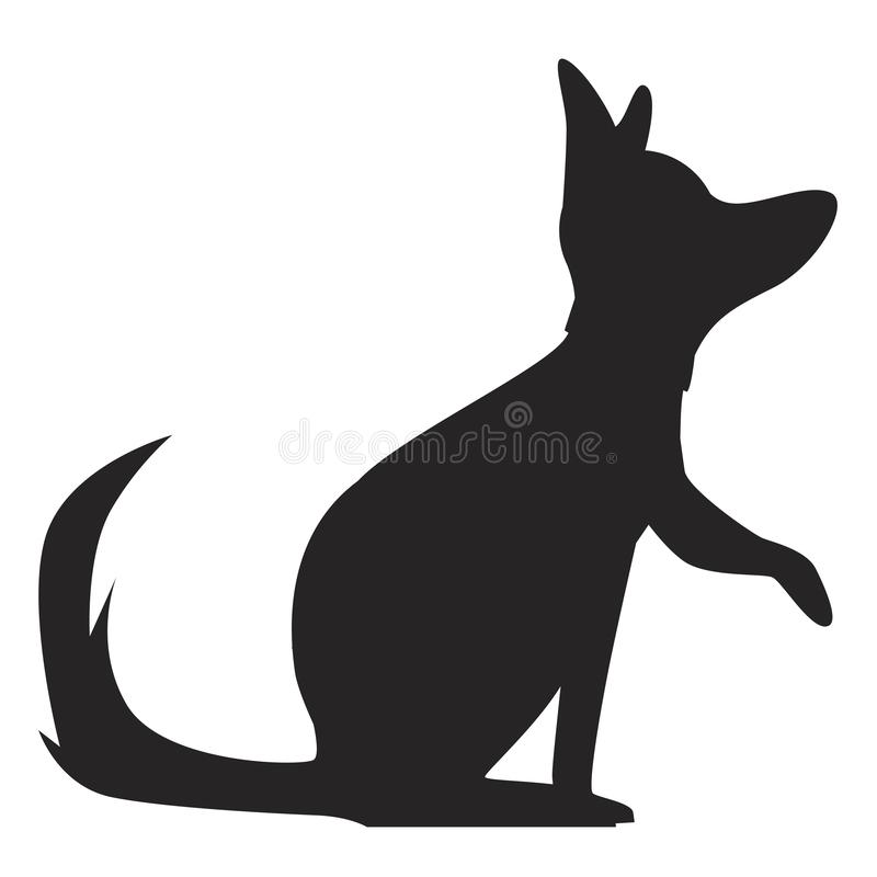 Silhouette of a German shepherd dog stock illustration