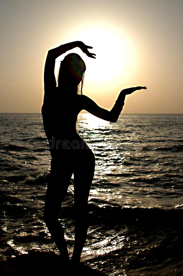 Silhouette girl stock photos
