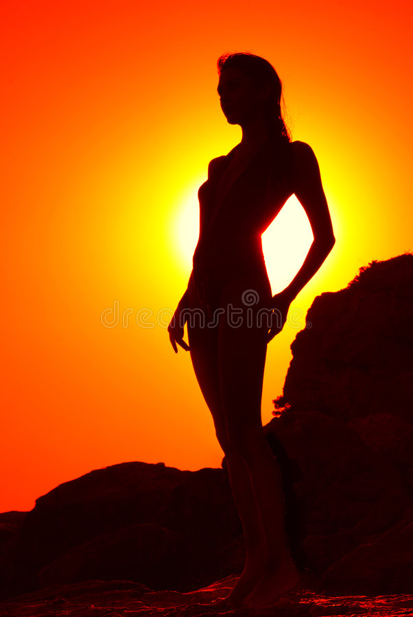 Download Silhouette of a girl stock image. Image of coastline, shadow - 3361479