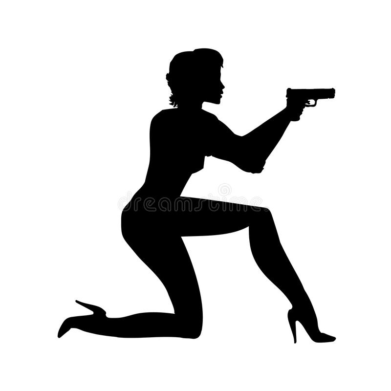 Silhouette girl in an action movie film shootout pose with a gun sit. Silhouette Woman, lady illustration of spy. Person a. Shoot royalty free illustration