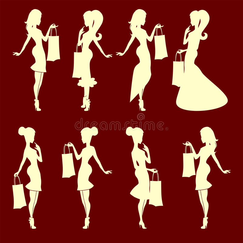 Silhouette of a girl with a bag set royalty free illustration