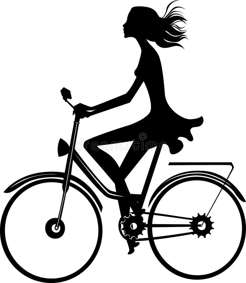 Silhouette of a girl on a bicycle stock illustration