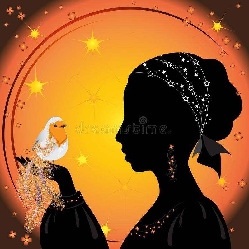 Silhouette of a girl with bird stock illustration