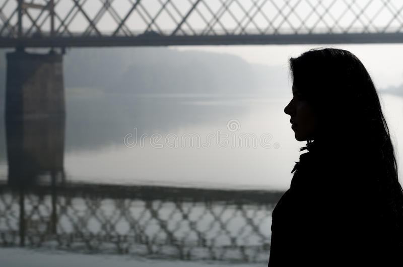 Download Silhouette Of Girl And Bridge Over River On Beautiful Autumn Day Stock Photo - Image of black, beauty: 74764154