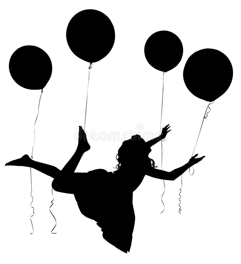 Silhouette Girl Child Riding Baloons. Silhouette of girl child in dress floating away on balloons with clipping path royalty free illustration