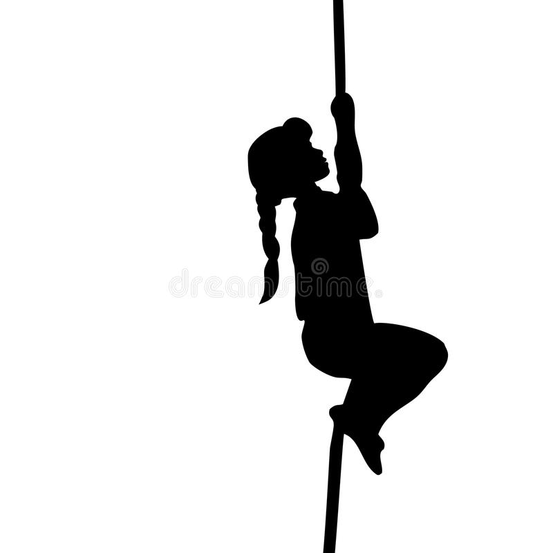 Silhouette girl climbs up the rope royalty free illustration