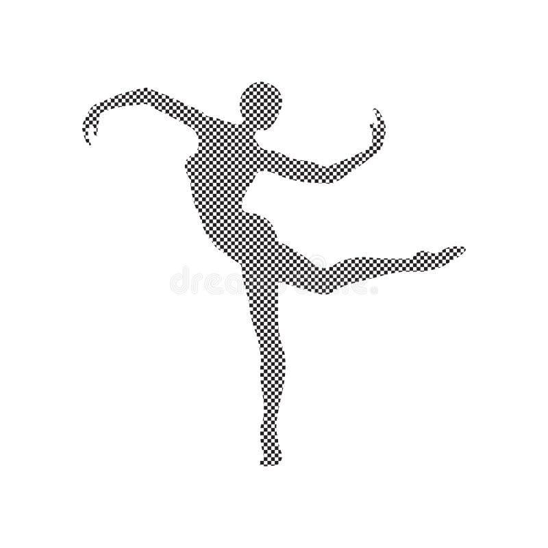 Silhouette of a girl doing modern dance, fitness, yoga, gymnastics royalty free stock image