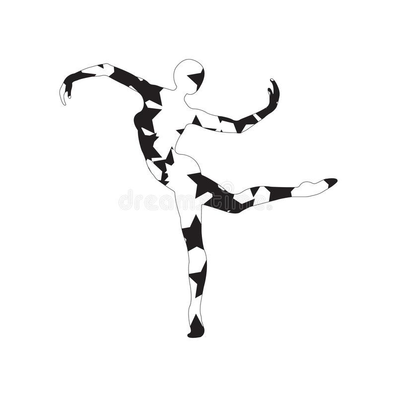 Silhouette of a girl doing modern dance, fitness, yoga, gymnastics,. Twine, ballet decorated with a pattern on a white background. Vector illustration vector illustration