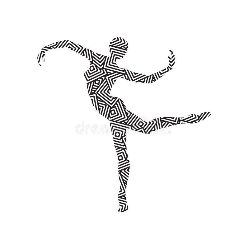 Silhouette of a girl doing modern dance royalty free stock image