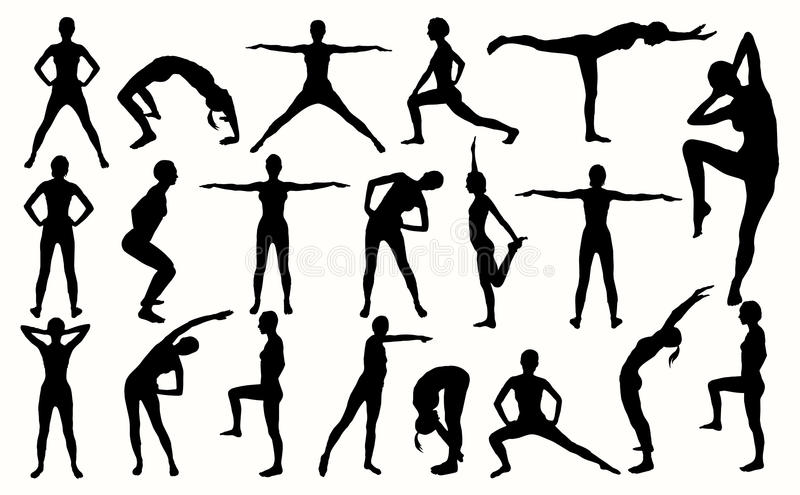 Silhouette of the girl engaged in fitness. Girl in different poses vector illustration