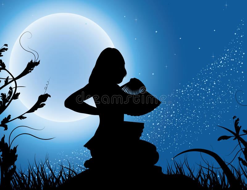 Silhouette Of The Girl With A Fan In A Full Moon Stock Photography