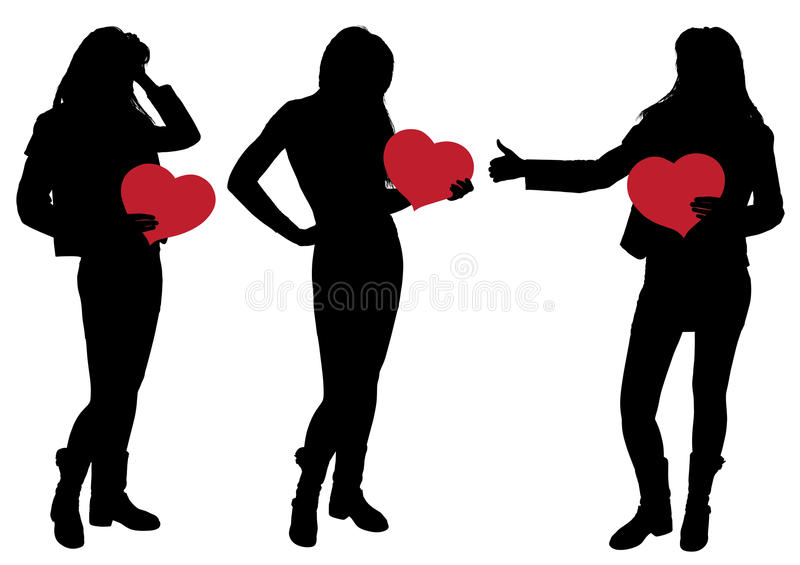 Silhouette of a Girl Holding a Heart stock photography