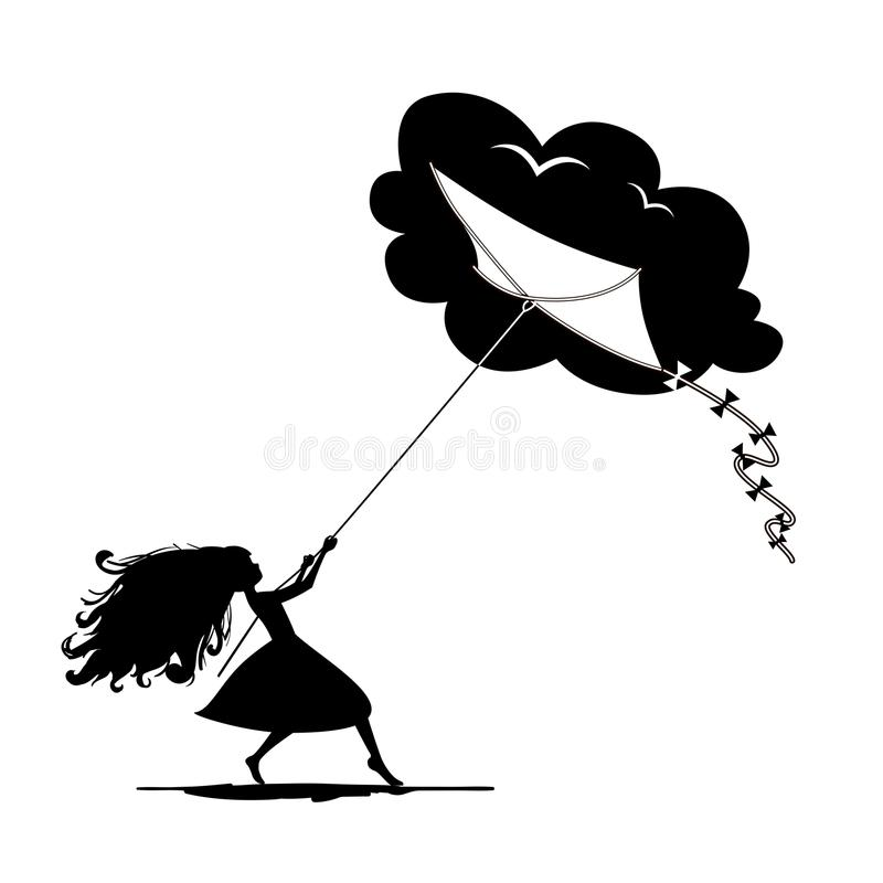 Silhouette of girl holding kite. lifestyle concept. Silhouette of girl holding kite. Dream, childhood, lifestyle concept. Vector illustration royalty free illustration