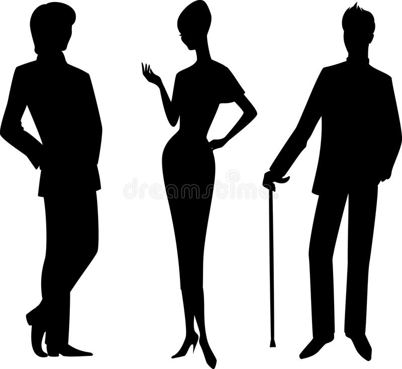 Silhouette of girl with man. stock illustration