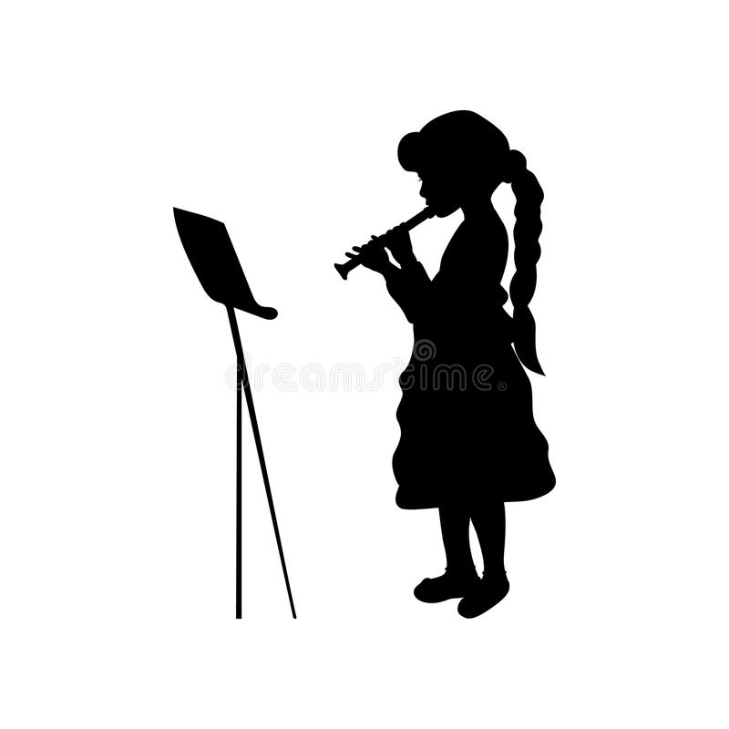 Silhouette girl music playing flute. Vector illustration royalty free illustration