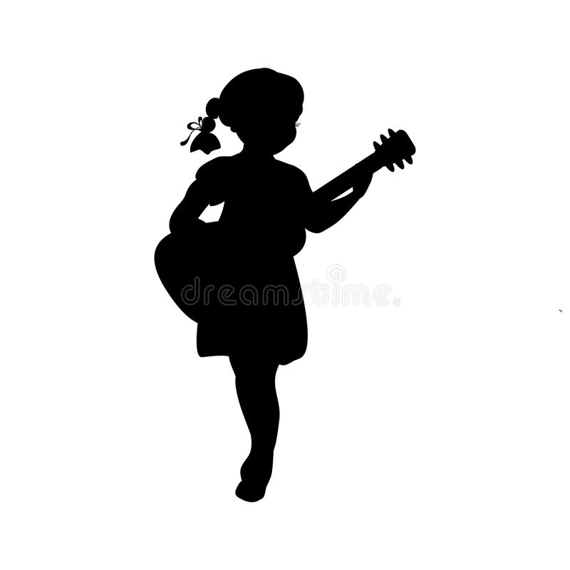 Silhouette girl music playing guitar. Vector illustration royalty free illustration