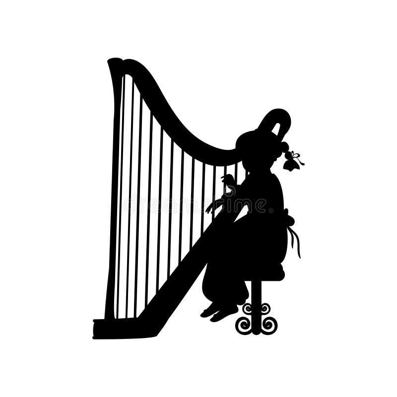 Silhouette girl music playing harp. Vector illustration vector illustration