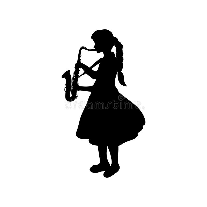Silhouette girl music playing the saxophone. Vector illustration royalty free illustration