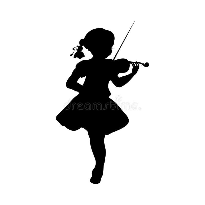Silhouette girl music plays violin vector illustration