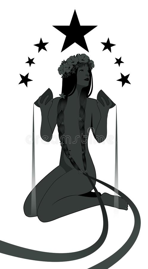 Silhouette of girl naked under seven stars, pouring water from two golden bowls. She wears a wreath of flowers and long dark braids adorned with little flowers stock illustration