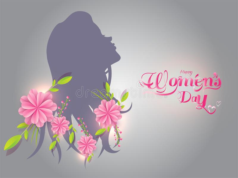 Silhouette of girl with paper cut flowers on gray background. stock illustration