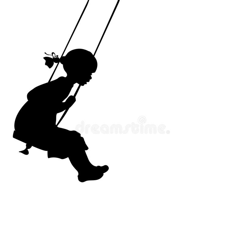 Silhouette girl play swinging swing. Vector illustration