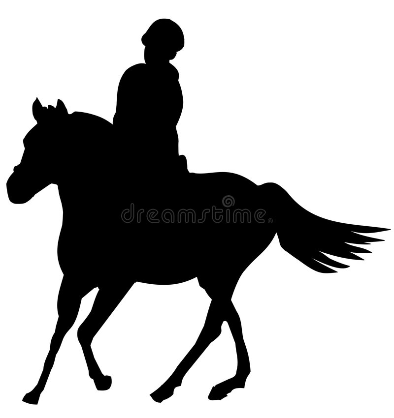 Silhouette of girl and pony stock photography