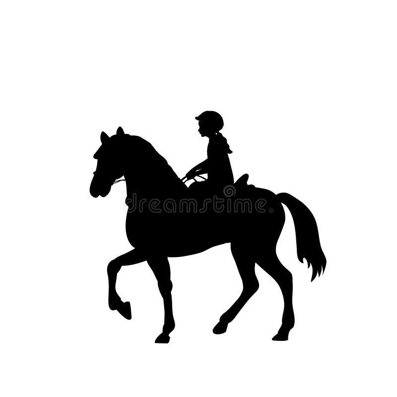 Free Silhouette Girl Rider Horseback Equitation Stock Images - 111384814