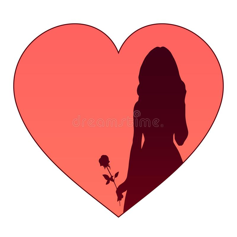 Silhouette of a girl with a rose on a background of hearts. Dark silhouette of a beautiful girl with a rose on a background of red hearts. Vector isolated stock illustration