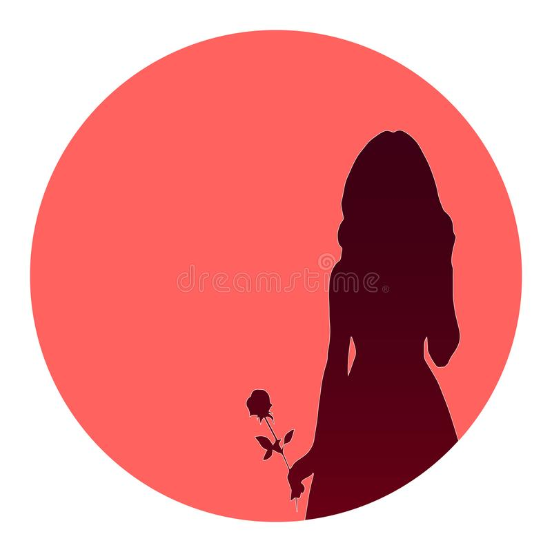 Silhouette of a girl with a rose. Dark silhouette of a girl with a rose. The background is round and red. Romantic vector illustration with place for text vector illustration