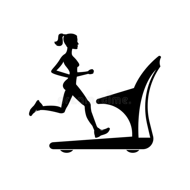 Silhouette of a girl running on a treadmill. illustration. Silhouette of a girl running on a treadmill royalty free illustration
