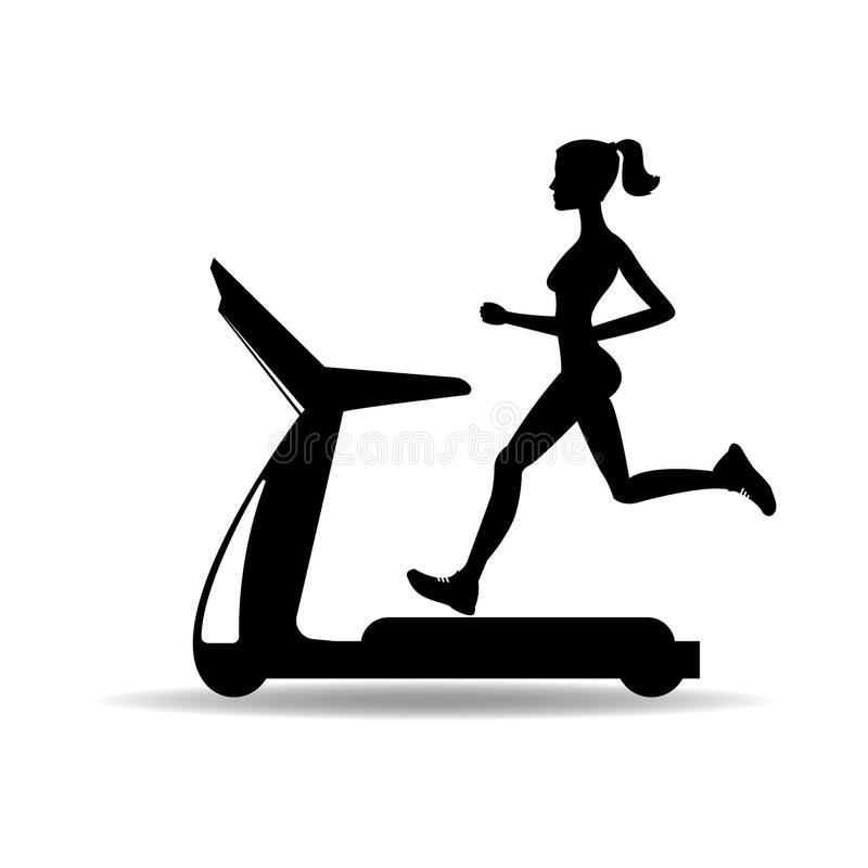Silhouette of a girl running on a treadmill. illustration. Silhouette of a girl running on a treadmill stock illustration