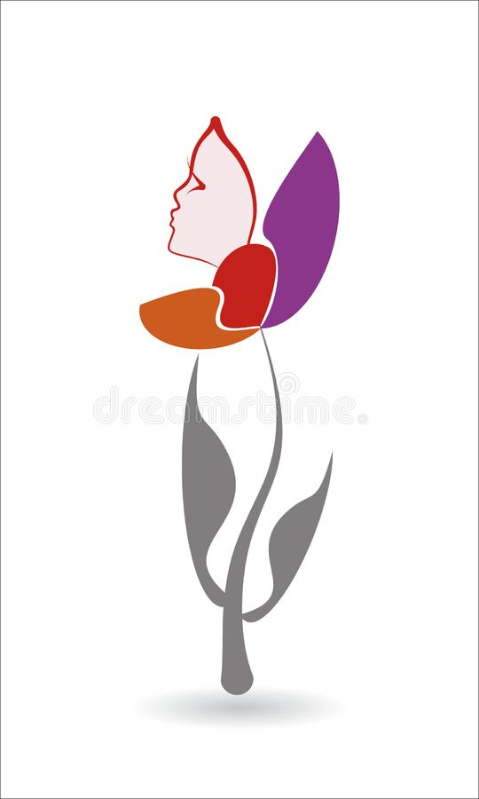 Silhouette of a girl`s face from a flower. beautiful line of female face royalty free illustration