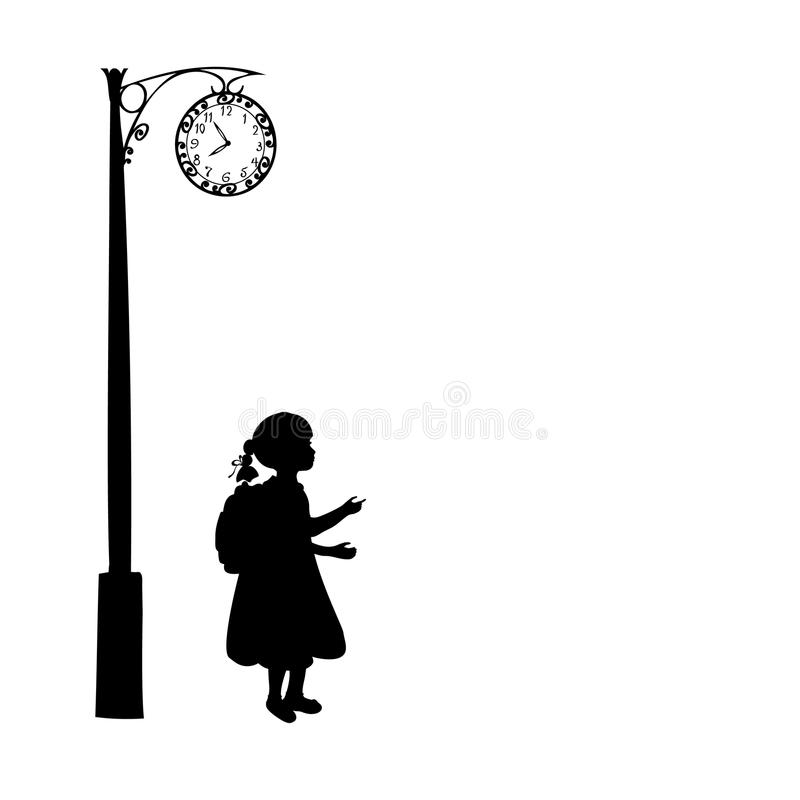 Silhouette girl school bag waiting stock illustration