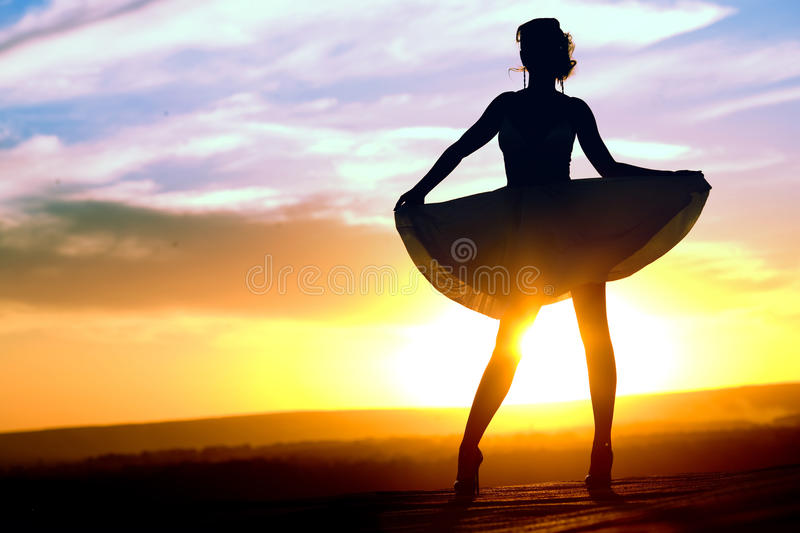 Download Silhouette Of Girl In Short Dress Stock Photo - Image: 15235630