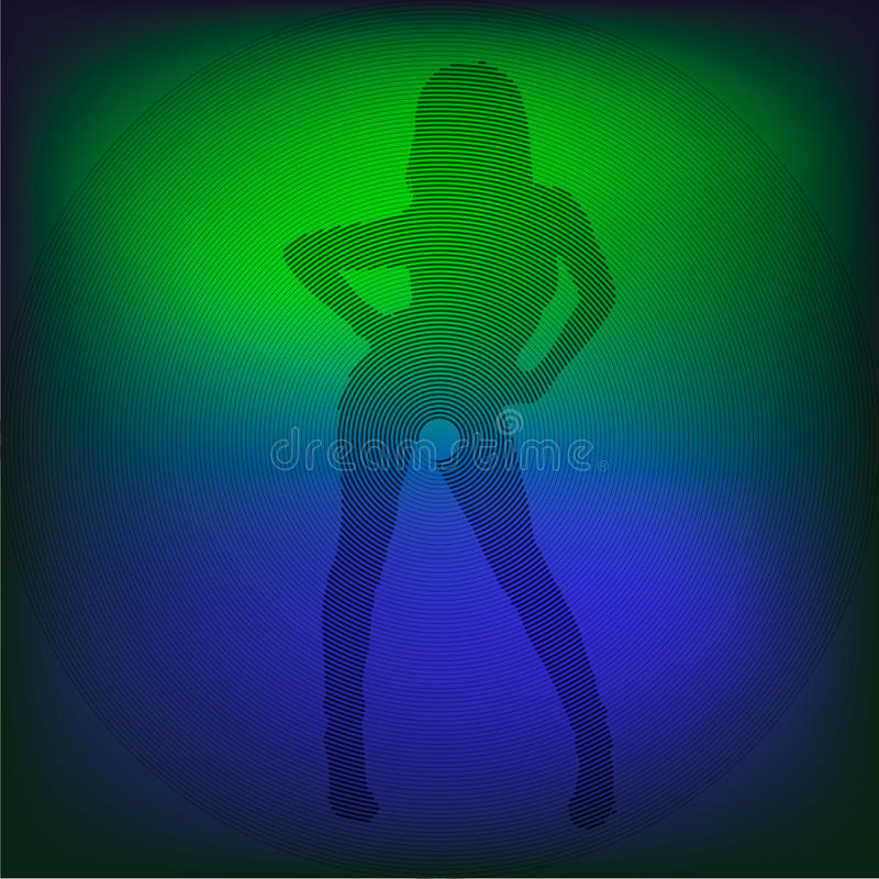 Silhouette of girl. Silhouette of the girl shown round strips royalty free illustration