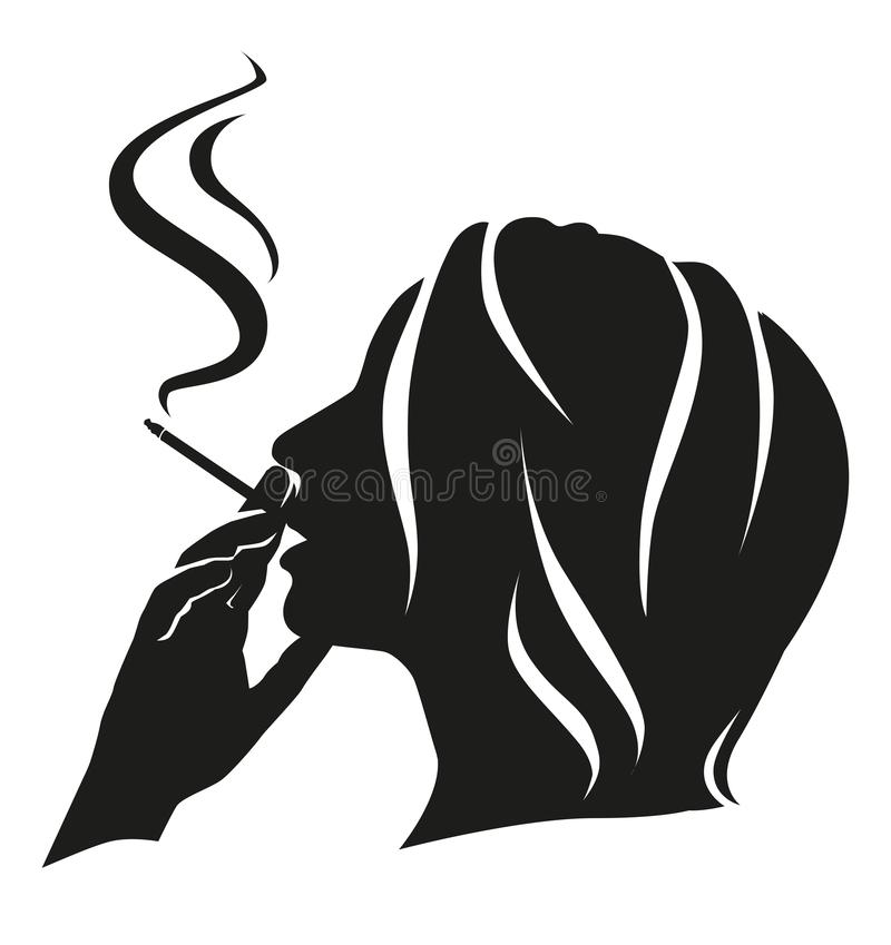 Silhouette girl smokes royalty free stock photo