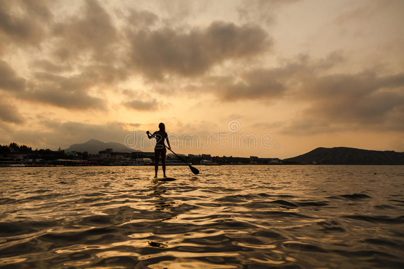 Silhouette of a girl on Stand Up Paddle Board royalty free stock image