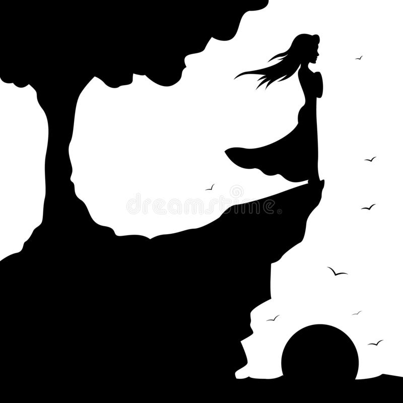 Free Silhouette Girl Standing On The Edge Of The Cliff An Looking At The Storm Sea, Shadows, Windy Dreams, Girl Sun And Tree Stock Photo - 136552820