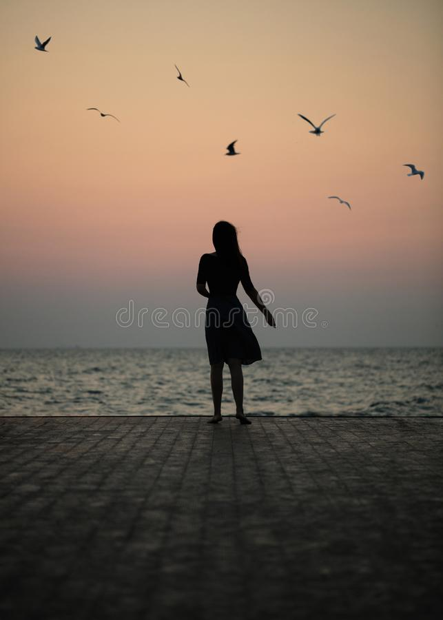 Silhouette of a girl on a sunset background sunrise on the sea. Horizon line. Summer walk on the beach royalty free stock photos
