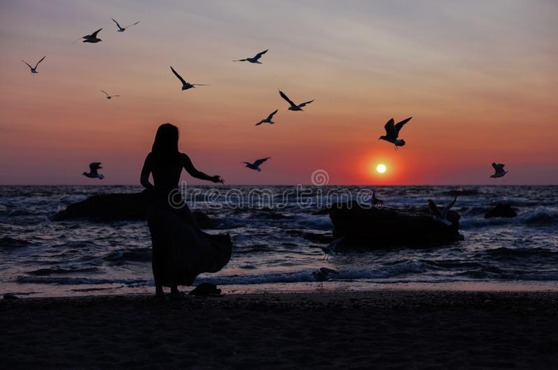 Silhouette of a girl on a sunset background sunrise on the sea. Horizon line. Summer walk on the beach royalty free stock photo