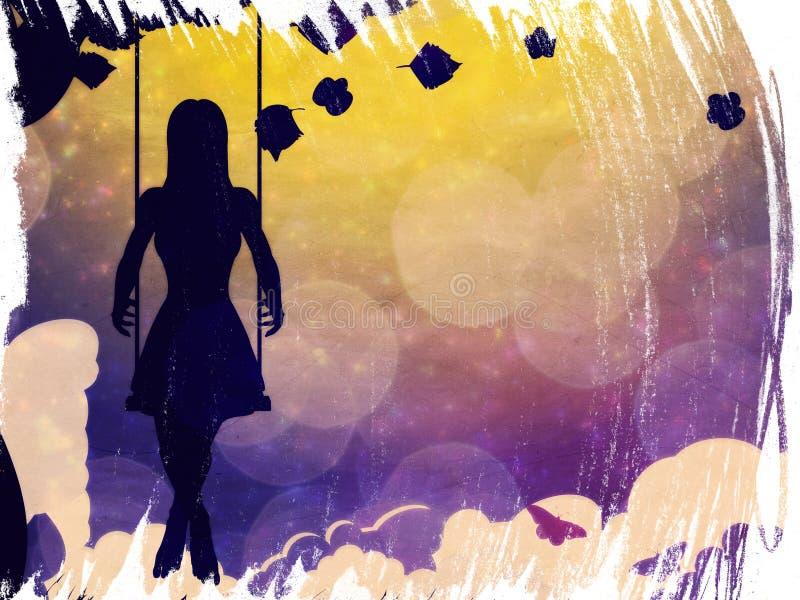 Grunge girl on swing silhouette at night royalty free illustration