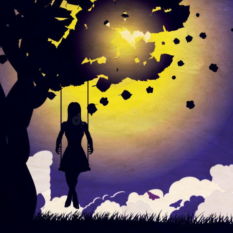 Grunge girl on swing silhouette at night stock illustration