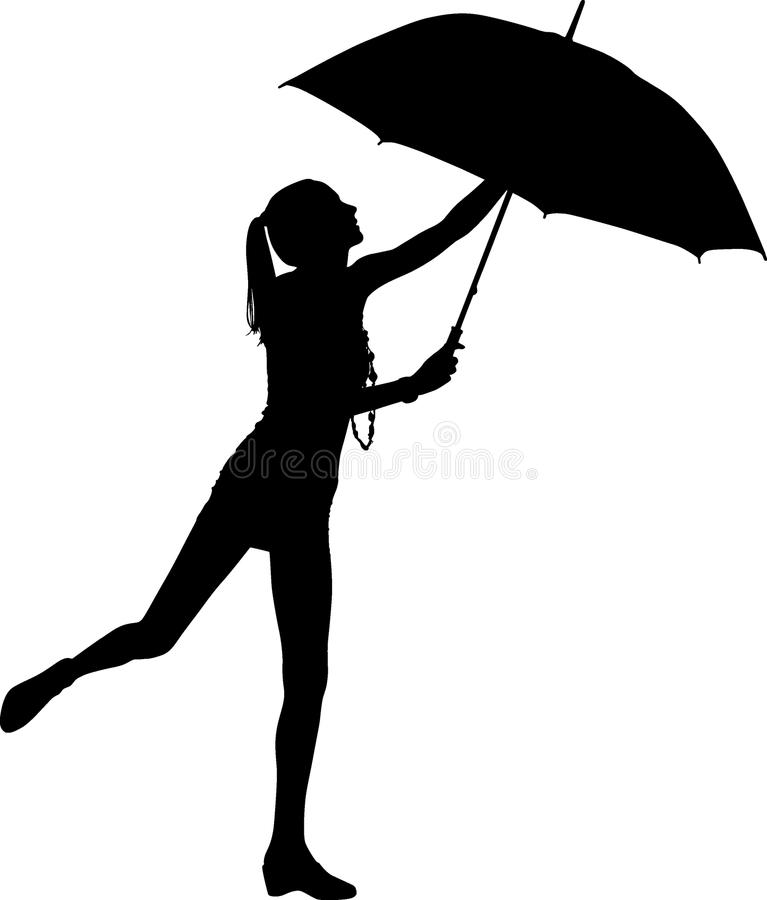 Silhouette girl whit umbrella stock photography