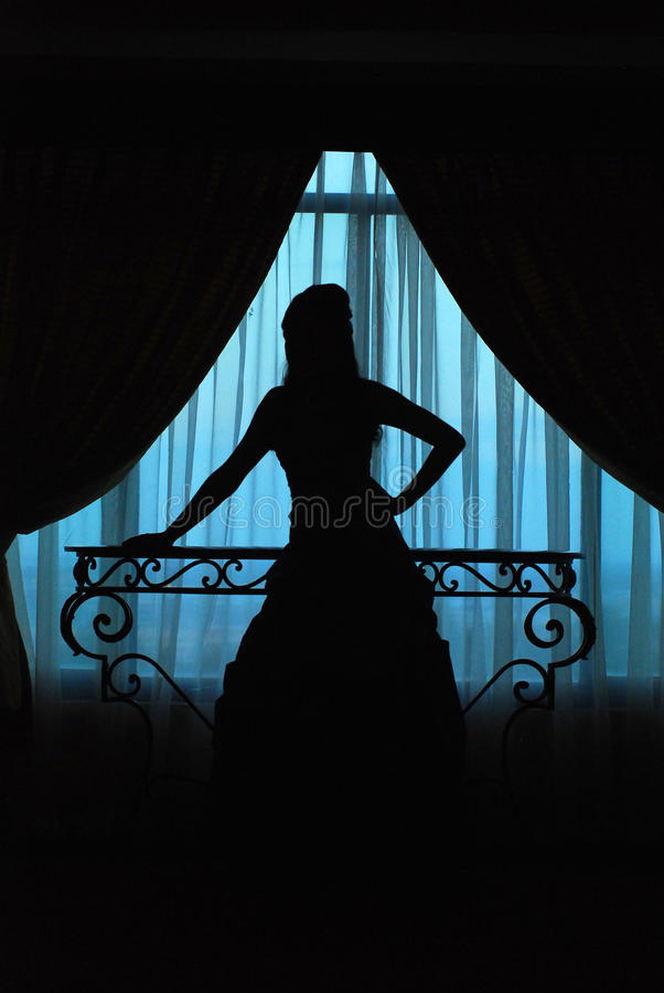 Download Silhouette Of Girl In Window Stock Image - Image: 11172629