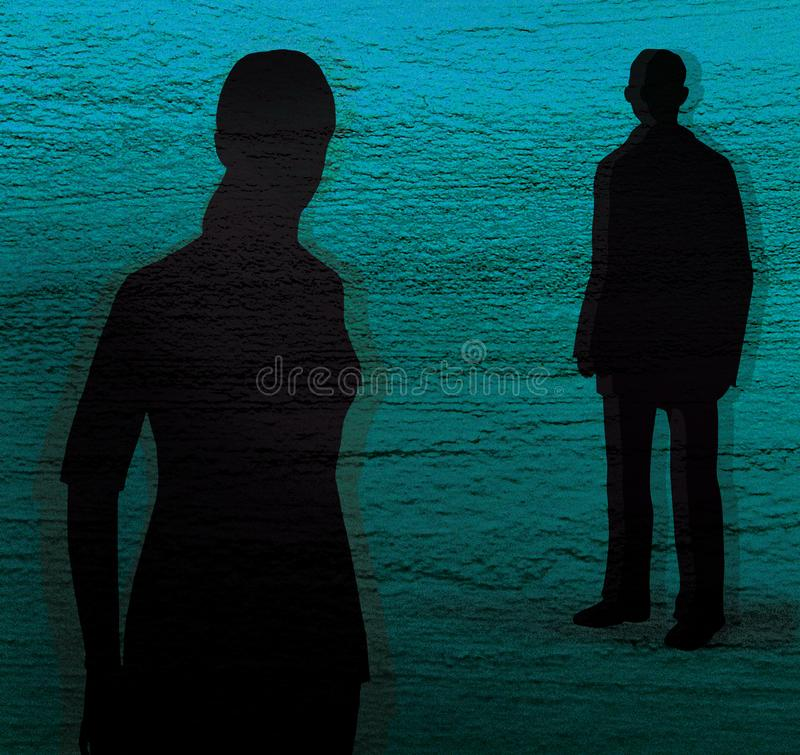 Silhouette of a girl and a young man on a blue and green textured background. Conflict, quarrel stock illustration