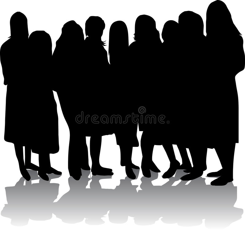 Silhouette of girls royalty free illustration