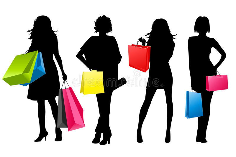 Silhouette girls shopping. Illustration