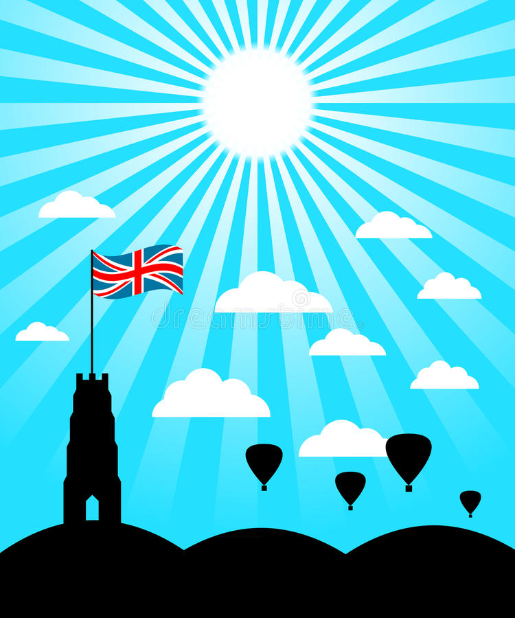 Glastonbury Summer. Silhouette of Glastonbury Tor against a sunny blue sly with balloons vector illustration