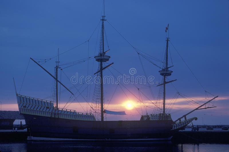 Silhouette of 'God Speed. ', one of three ships moored in Jamestown, historic site of first English settlement stock image